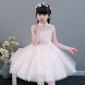 Image 1 - 2019 Summer Elegant Sweet Pink Children Girls Luxury Embroidery Lace Birthday Wedding Party Princess Ball Gown Dress Clothes