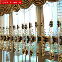 luxury hotels suitable for bedroom European King Queen brown embroidered gold curtains living room