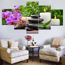 Canvas Pictures Modular Living Room Decor Framework 5 Pieces Stones Bamboo Orchid Flowers Paintings Wall Art HD Prints Posters