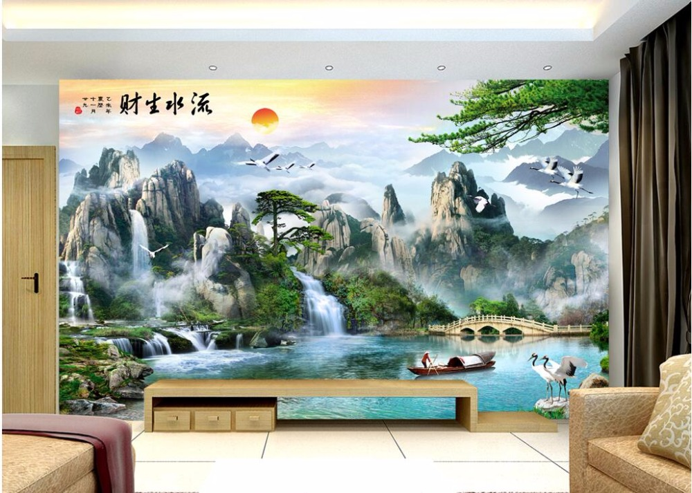 цены 3d wall murals wallpaper for living room walls 3 d wallpaper Chinese mountain waterfall river decor Custom mural photo painting