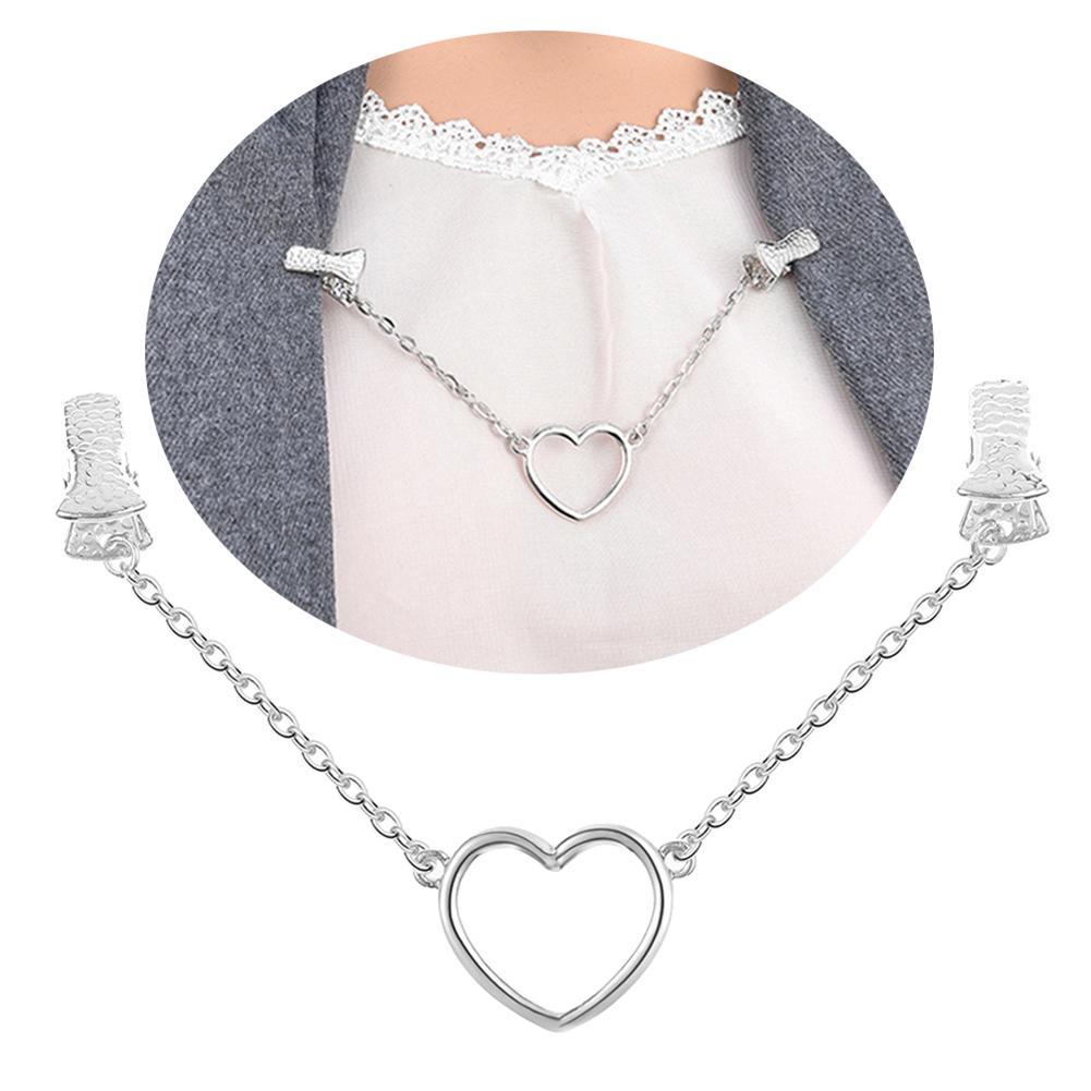 Fashion Hollow Love Heart Chain Duck Clasp Collar Shawl Cardigan Clip Jewelry new