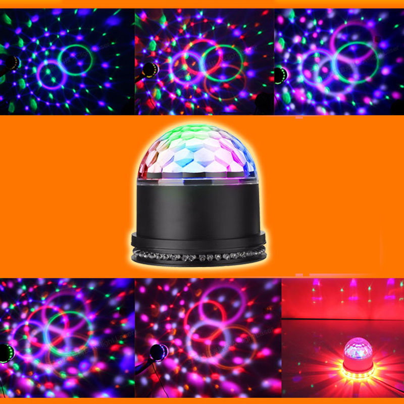 Sound Actived Auto RGB Mini Rotating Magic Disco Ball Strobe Stage Lights For DJ Dancing Show Concert Xmas Halloween