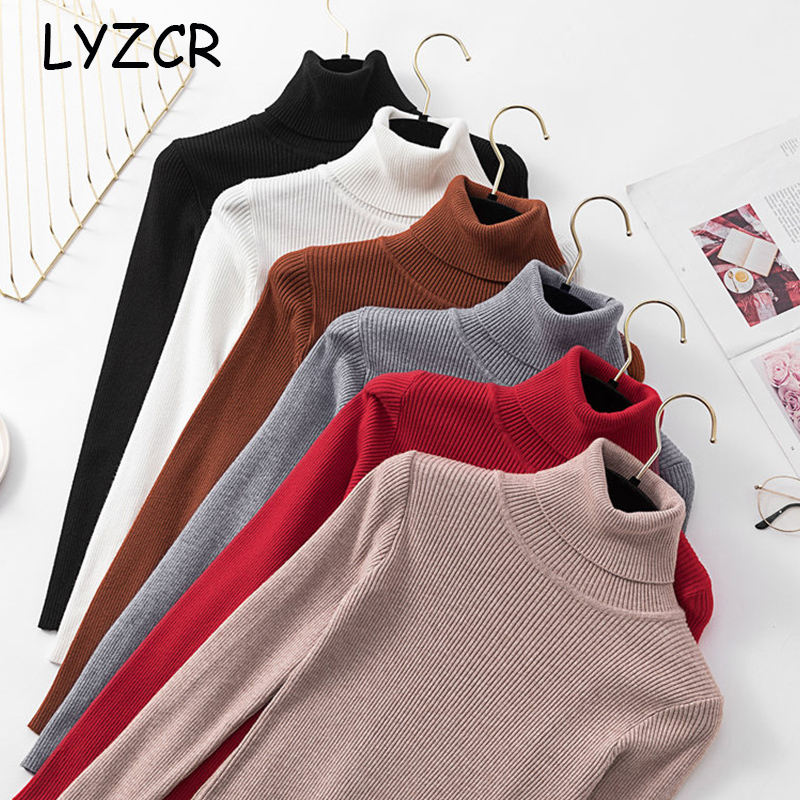 Women Turtleneck Sweater Knitwear Thick Winter Warm Women's Turtleneck Pullover Sweater For Women White Sweaters Female 2019