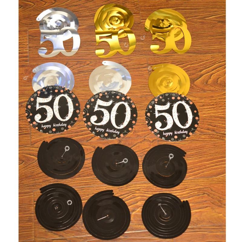 12PCS 18 30 60 Year Olds Shining Swirl Banner Fol Spiral Ornaments Fol Birthday Decor Ornaments For Birthday Party Decorations in Party DIY Decorations from Home Garden
