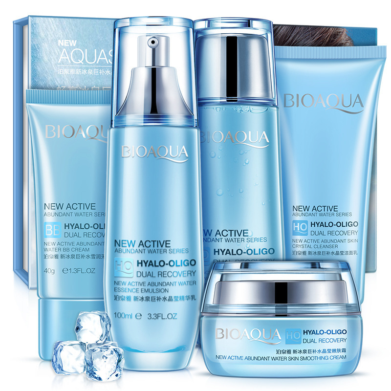 BIOAQUA Ice Spring Hydrating 5 Pieces in Set Skin Care Nourishing Moisturizing Cleanser, Toner, Lotion, Cream, BB Cream bicaoyuan black skirt firming gift set skin care nourishing moisturizing anti wrinkle cleanser toner lotion eye cream cream