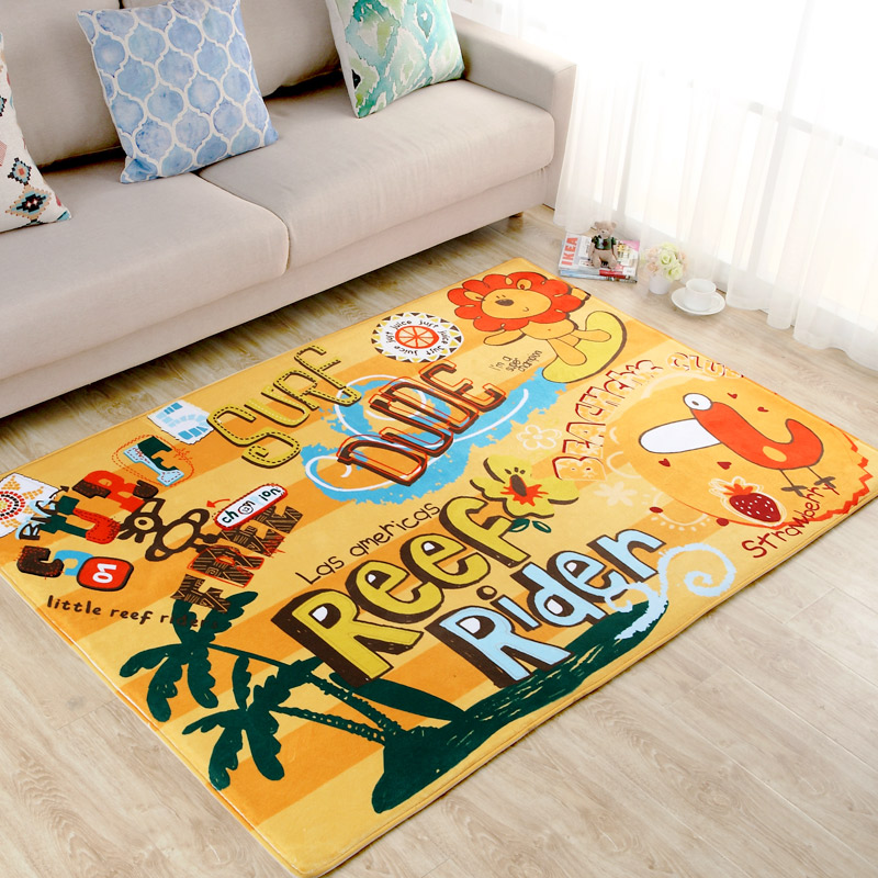 Cartoon Lion Carpet For Children Bedroom Soft Polyester Soft Rugs For Living Room Coffee Table Floor Mat Kids Play Area Rug