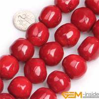 19x20mm Large Freeform Round Coral Stone Gem Stone Semi Precious Beads DIY Loose Bead For Jewelry Making Wholesale