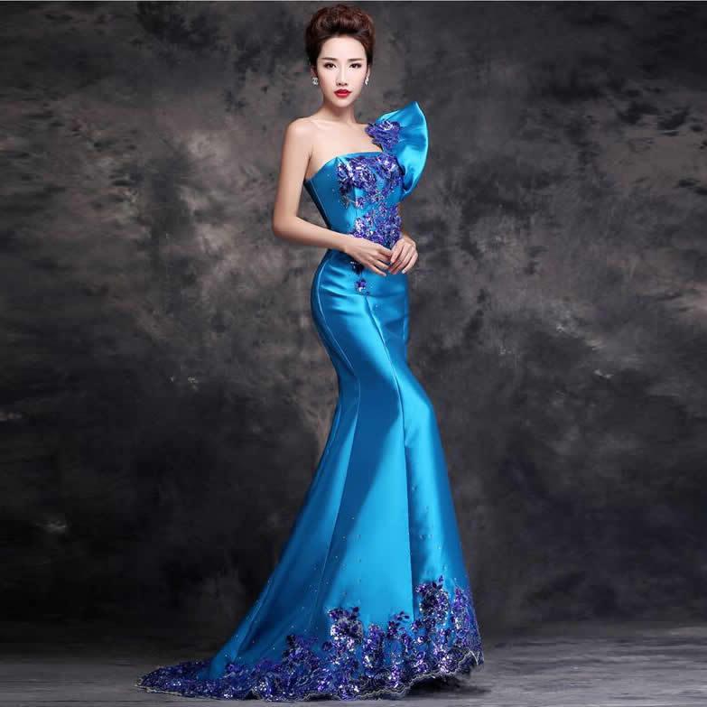 Longue Cheongsam robe chinoise femmes mince Tailing marier défilé de mode bleu une épaule Oriental robe de soirée Photocall