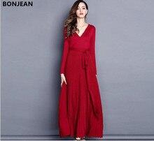 Free shipping woman  European and American 2018 temperament long sleeved V collar knitted waist belt dress