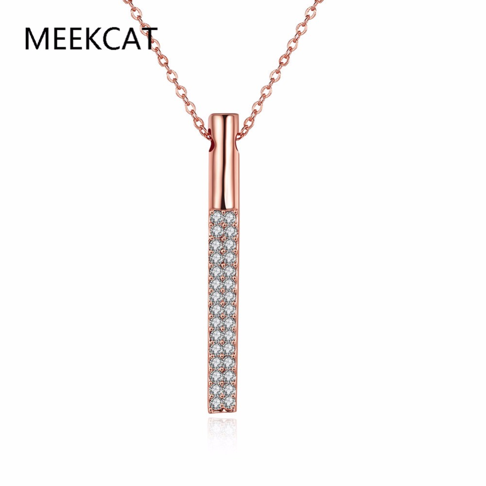 MEEKCAT Charms Jewelry Gifts Men Women Micro Paved Cubic Zirconia Bling Rose Gold Color Cube Bar