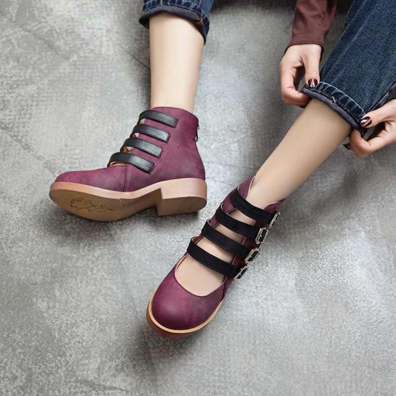 EGONERY kadınlar yeni stil yaz çizmeler bayanlar 4 toka yuvarlak ayak ayakkabı kalın alçak topuk kadın rahat sandalet geri fermuar bayanlar çizme