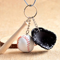 Baseball with Hat Key Chain Sporty Style Keychain on The Keys PU Leather Car Keychain Unisex Sports Ball Key Ring Key Holder