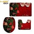 HUGSIDEA Merry Christmas водопоглощающий коврик для ванной  туалетный коврик для ванной комнаты  набор  теплое мягкое пальто  чехол для унитаза  чехол д...