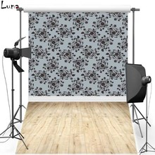 Floral Wall Vinyl Photography Background Backdrop Wooden Floor Photo New Fabric Flannel Background For Newborn Photo Studio 1149