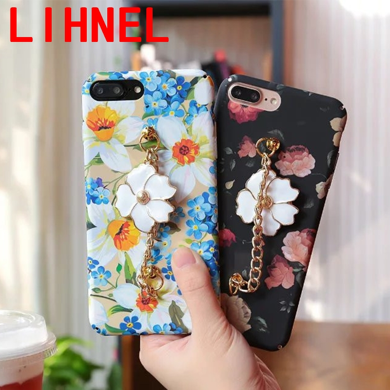LIHNEL Colorful CC Flower with Hand Chain 3D camellia plant Hard PC <font><b>Phone</b></font> <font><b>Cases</b></font> Back coque cover For <font><b>iPhone</b></font> 7 6 6s 6 <font><b>7Plus</b></font> <font><b>case</b></font>