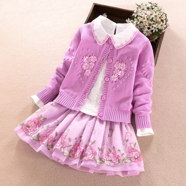 Girl Pure Cotton Sweater Kids 3pcs Kids Clothes 2018 Spring Autumn Girls Clothing Set Nail Pearl Lapel Sweater Girl girls cotton set 2018 spring new child embroidery lapel sweater bottoming shirt skirt sweater three piece