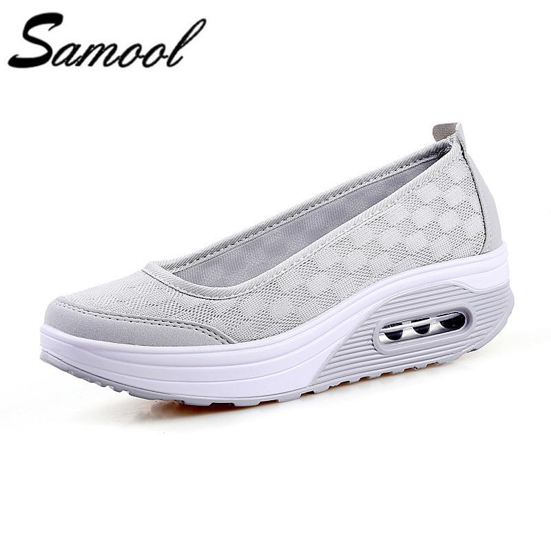 2018 Spring summer Wedges women sheos High Heels Ladies Casual Shoes Vulcanize Women Slip On Mesh Fashion Air Sole Shoes kxd25