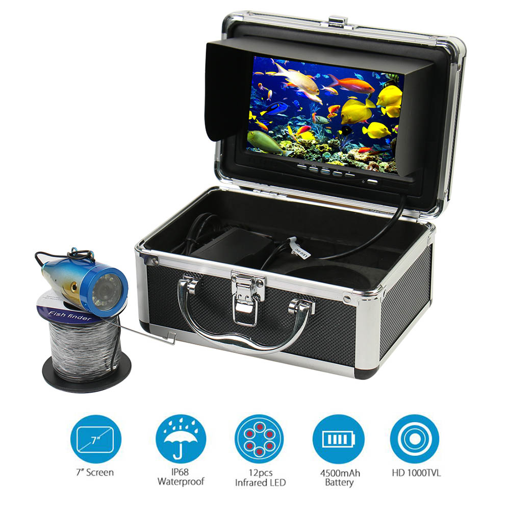 Underwater Fishing Camera 7 Inch 1000TVL Waterproof Video Underwater Camera 12 PCS Infrared Lamp