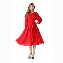 Buenos Ninos Women's High Street Latest Design Dress Chiffon Long Sleeve Loose Mid Length Dresses with Belt