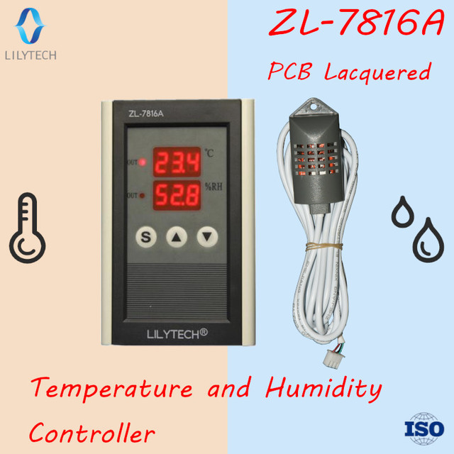 ZL 7816A,12V, Temperature and Humidity Controller, Thermostat and Hygrostat, Lilytech