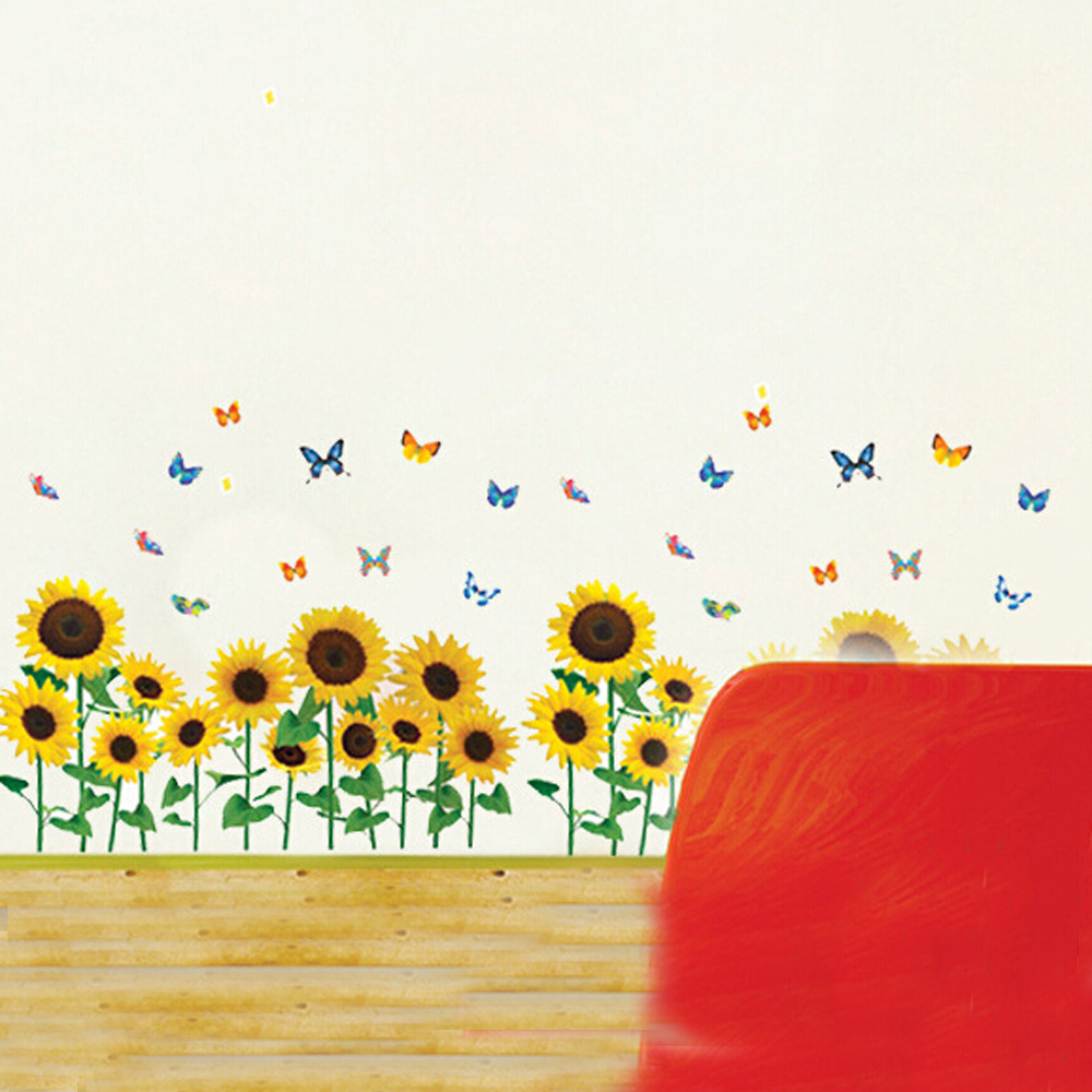 free shipping cheap removable butterfly flower wall decor