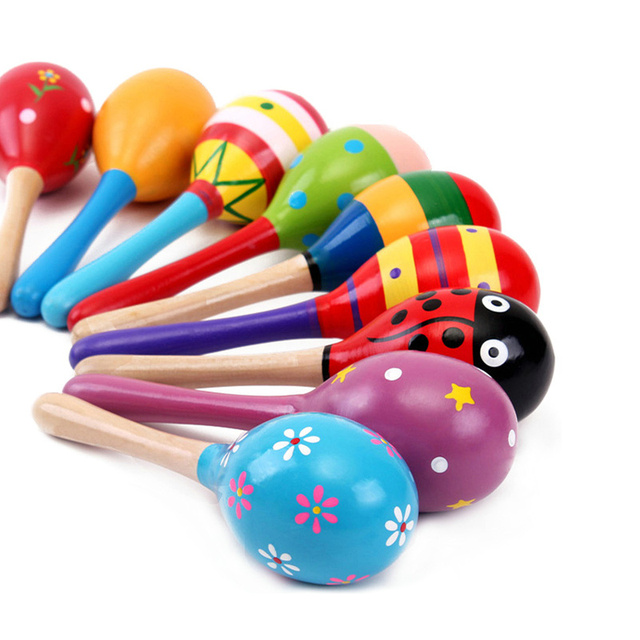 1PCS Colorful Baby Rattle Mobiles Wooden Ball Toy Sand Hammer Hand Rattles Kids Musical Instrument Percussion Toy YLT01 2
