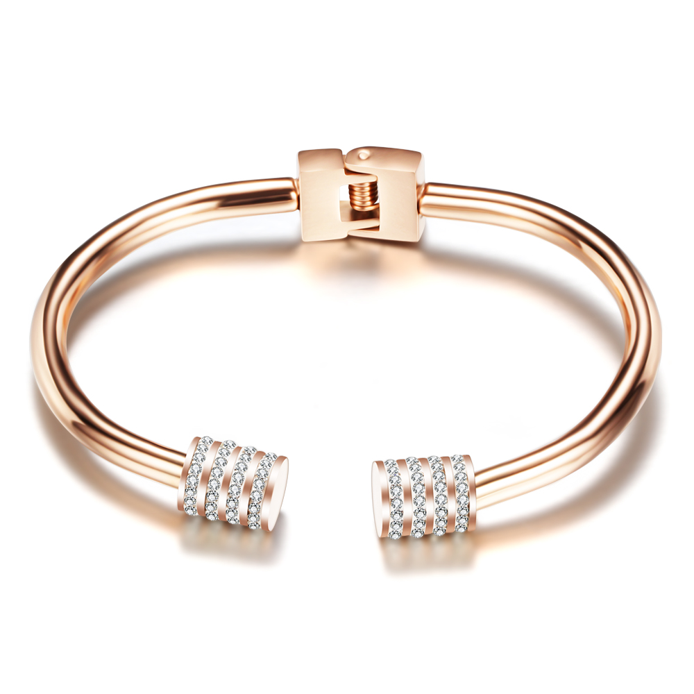 Luxury Rose Gold Color Crystal Bracelets For Women Cuff Bracelet Jewelry bracelets High Quality Bracelet Pulseiras gothic style faux crystal rose bracelet with ring for women