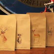 10 unids/lote de sobres de papel Kraft pintados con ciervos y flores Vintage, sobre pequeño de papel decorativo Retro Simple de 16x11cm