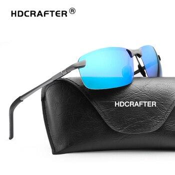 HDCRAFTER Aluminum Magnesium Polarized Mens Sunglasses Rimless Sun Glasses Goggle Eyewear Men gafas oculos de sol masculino 3043