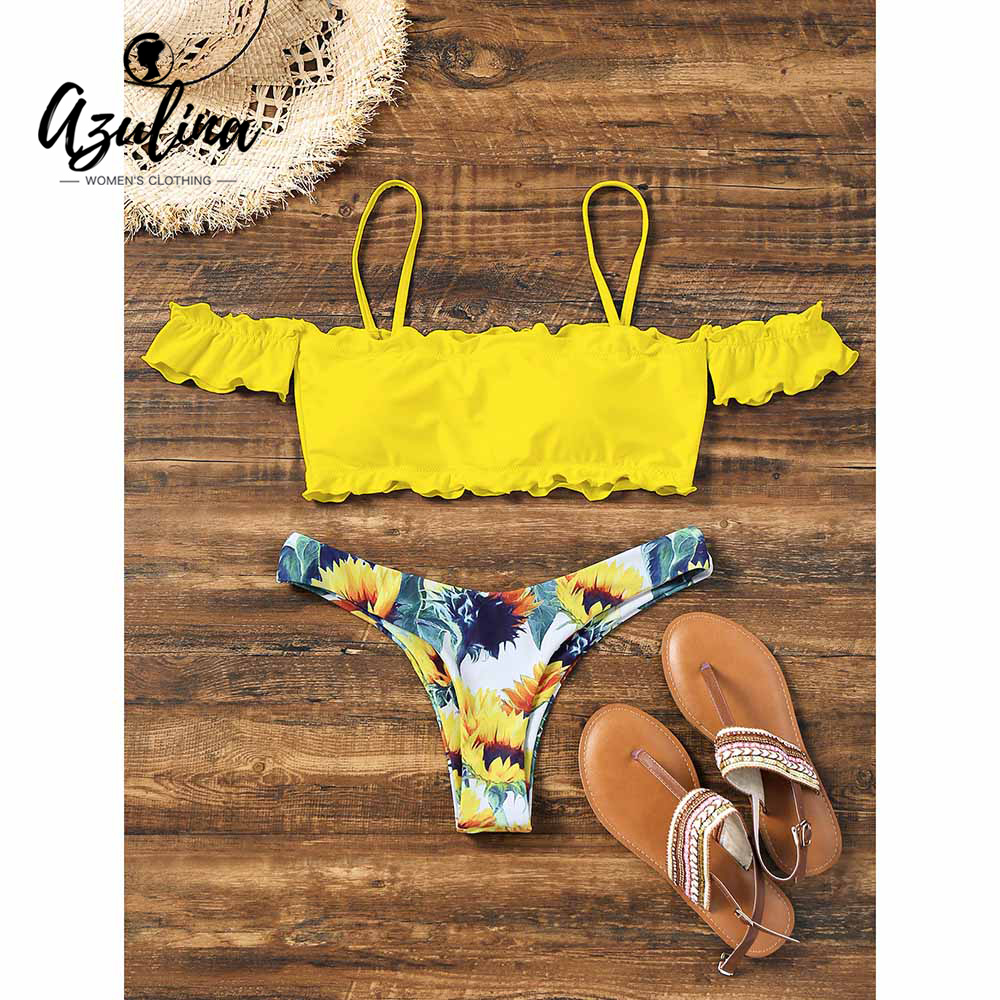 AZULINA Off Shoulder Sunflower Bikini Swimwear Bathing Suit Push Up Sexy Women Swimming Suits Biquini Beach Wear Maillot De Bain men s swimming trunks sexy wear pool shorts bikini bathing suit plus size swimwear printed maillot de bain low waist