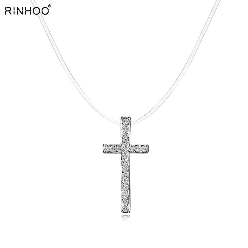 CZ Crystal Zircon Stone Silver color Chain Necklace Elegant Fashion Cross Pendant For Women Wedding Party Gift Jewelry