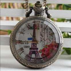 Карманные часы Бронзовый Париж римская цифра Эйфелева башня Прозрачная крышка кварцевые аналоговые кулон Цепочки и ожерелья мужские