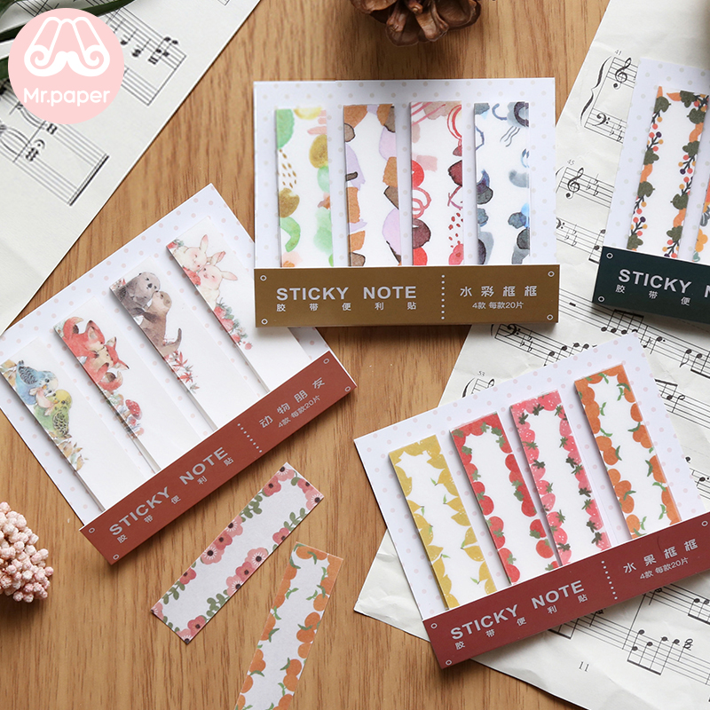 Mr Paper 80pcs/lot 12 Designs Ins Style Morandi Memo Pad Sticky Note Take-away Tape With Release Paper Self-Stick Note Memo Pads