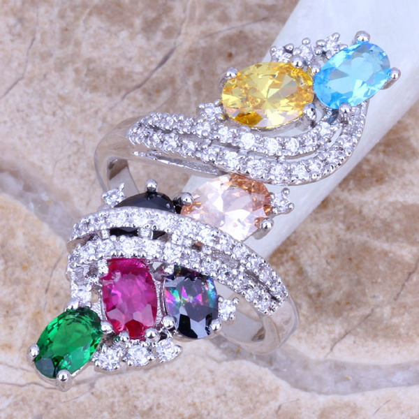 Sweet Multicolor Green Cubic Zirconia Silver Plated Ring Size 5/6/7/8/9/10/11/12 S0219