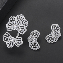 SisCathy Luxury Dubai Wedding Jewelry Sets Bowknots Cubic Zirconia Geometric Stud Earrings Opening Ring For Women Jewelry Sets цена в Москве и Питере