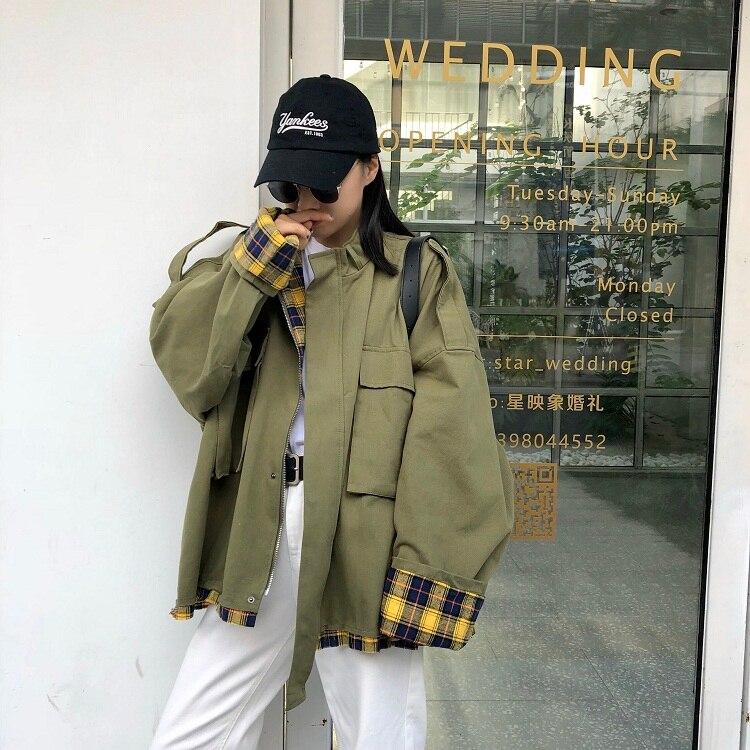 2019 Korean Casual   Trench   Version Loose BF Lattice Stitching Tooling Windbreaker Coat Cotton Full Mandarin Collar Pockets