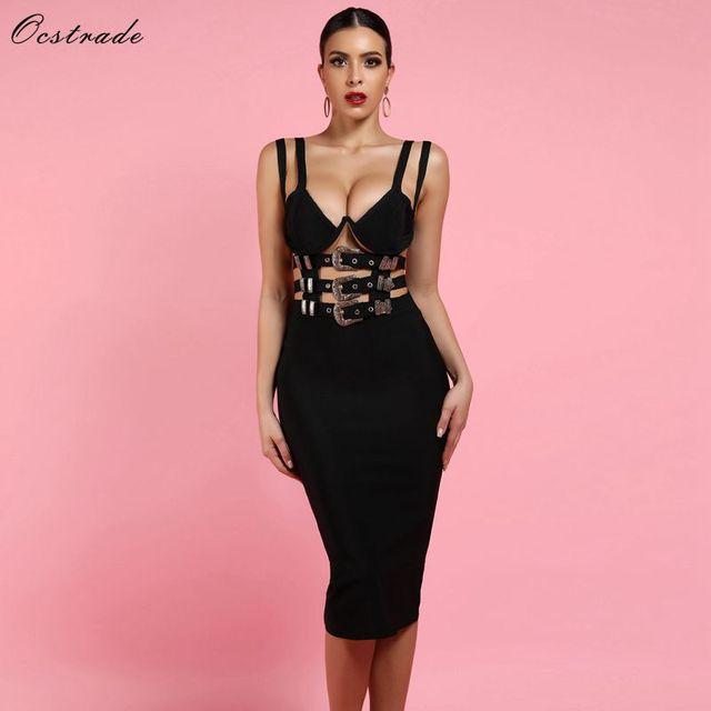 Ocstrade ملهى ليلي أسود ضمادة فستان جديد مثير 2020 نساء موضة الخامس الرقبة ضمادة Bodycon فستان نادي حفلة Vestido ضمادة فستان