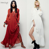Vintage Style Embroidery V Neck Long Sleeve Maxi Dress White Floor Length Mermaid Engage Bridal Beach