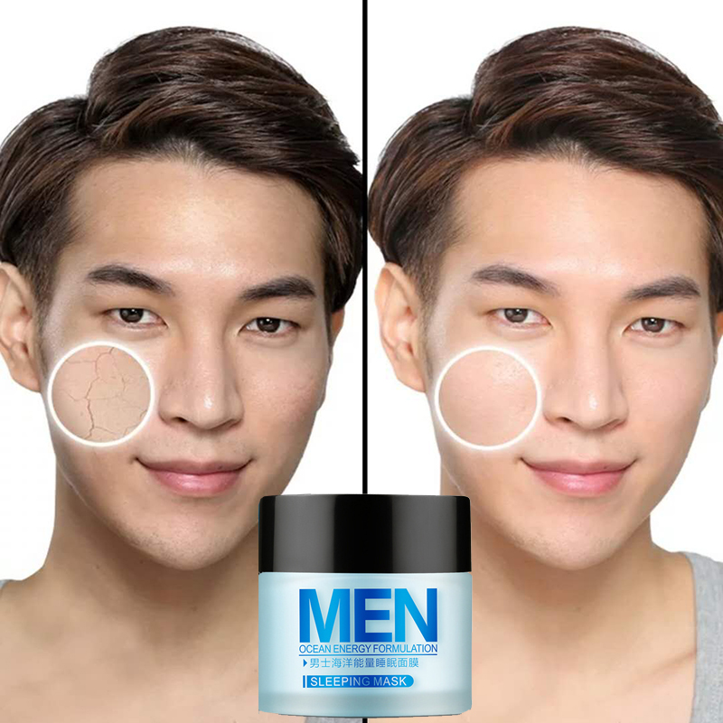 LAIkou Men Sleep Mask 70g Whitening Blackhead Acne Printed Shrink Pores And Oil Control Skin Care Products For Men image