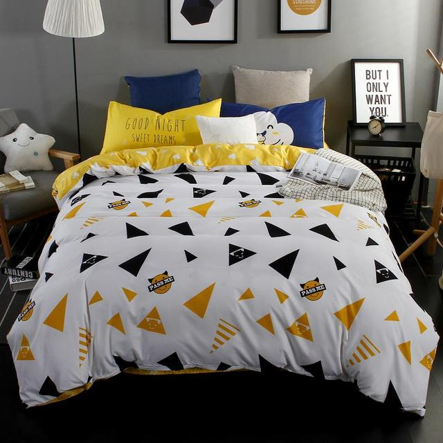 Beau Bright Yellow Flat Sheet Blue Color Reactive Printed Brushed Microfiber Bed  Sheets China Bedding Set Queen