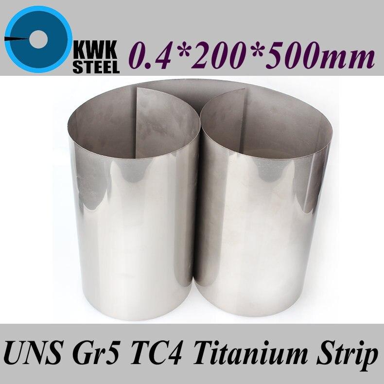 0.4x200x500mm bande en alliage de titane UNS Gr5 TC4 BT6 TAP6400 titane Ti feuille mince industrie ou matériel de bricolage livraison gratuite