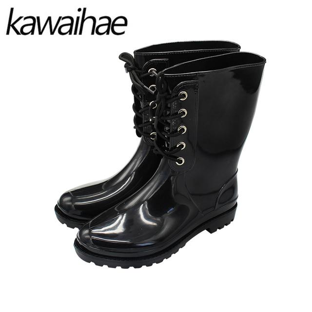 a315273a54 Mulheres Botas Dedo Do Pé redondo Preto Sapatos Femininos Chuva Botas de Chuva  Sapatos De Borracha