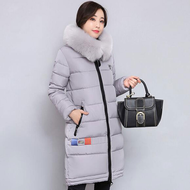 Winter Women Fashion Long Thick Warm Cotton Jacket Women High Quality Fur Collar Slim Coat Women plus size Overcoat Parka QH444 2017 winter classic fashion fur hoodie coat jacket women thick warm long sleeve cotton coats student medium long loose overcoat