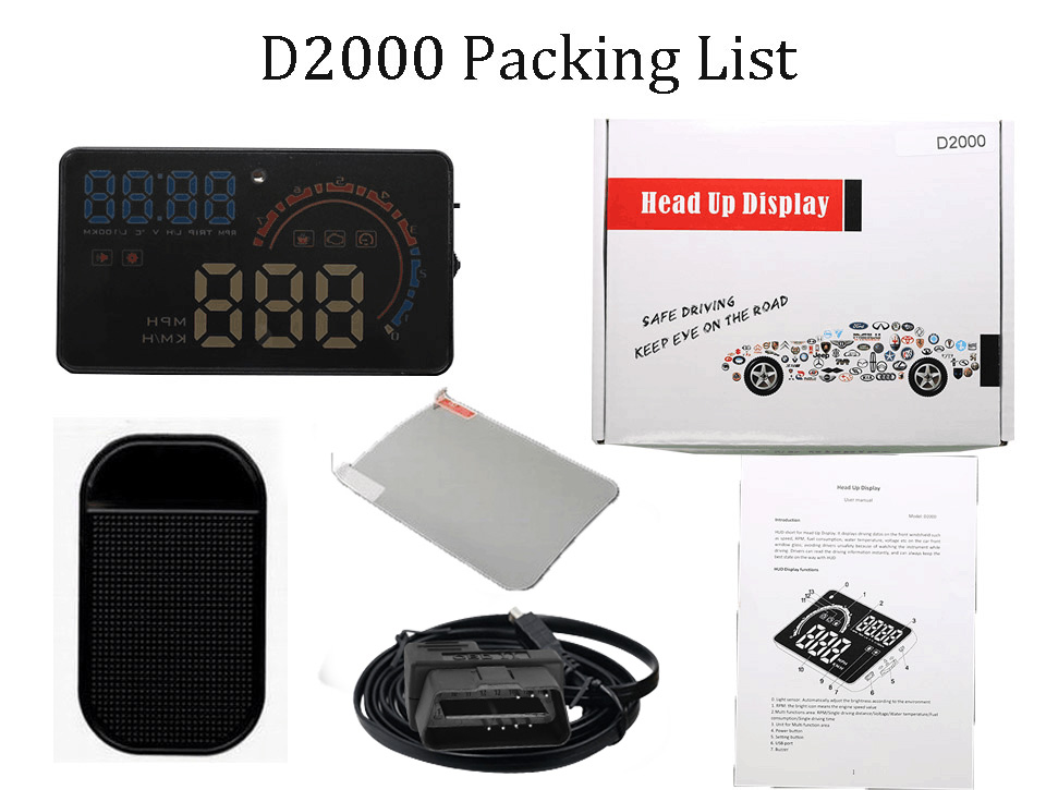 OBD2 HUD Car Head Up Display 5.5' A8 LED Windscreen Projector OBD Scanner Speed Fuel Warning Alarm Data Diagnostic Tool 4' D2000 5