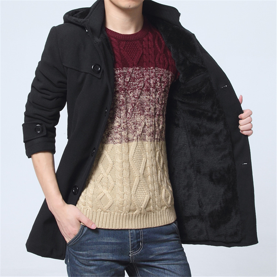 2019 Winter Trench Coat Men Fashion Long Overcoat men Hot Sale Woollen Coat Thick Men's Clothing Size 4XL Wool Jackets 6