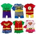 Комбинезон для мальчика Светящийся костюм Супермена Бэтмена Короткая одежда их хлопка для маленьких девочек Интересные костюмы для детей Детская одежда