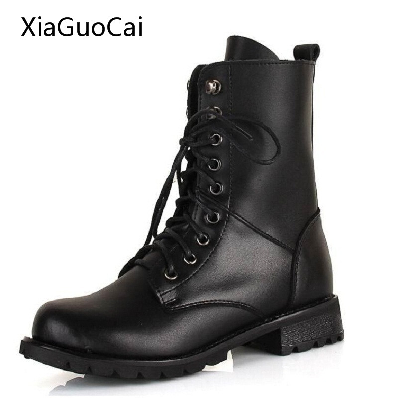 PU Leather Black Mid Calf Boots for Women True Red White Black LP13356