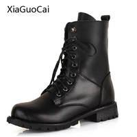 Black Ankle Boots Women Fashion Women Combat Boots Leather Round Toe High Quality Lace Up Boots