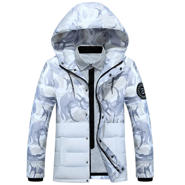 Winter parka new camouflage down jacket male short paragraph hooded young students large white duck down jacket Without Shirt
