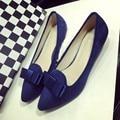 Sexy Blue Pointed Toe Women Pumps Shoes Spring Autumn Flock Bowtie Woman Low Heel Shoes Ladies Casual Single Shoes Plus Size
